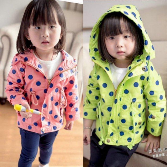 2015年童裝1-2-3-4歲兒童休閑風衣波點女童外套中小童休閒外套2色西瓜紅.螢光綠(純棉建議大一號選購)現貨