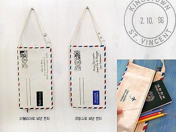 BO雜貨【SV3744】義大利國旗棉麻信封國際郵件筆袋 化妝包 側背包 護照包 小背包