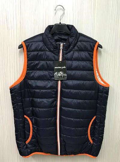 【巷子屋】男/女款滾邊科技保暖鋪棉背心外套 深藍色 超值價$250