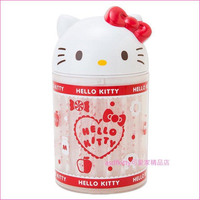 asdfkitty可愛家☆KITTY紅結白大臉棉花棒罐/收納罐/60支/-日本正版商品