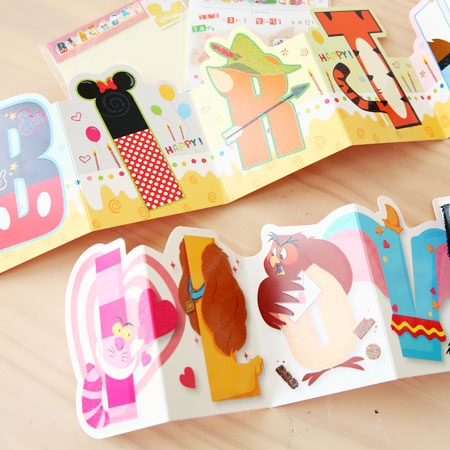 正版迪士尼字母卡片 可吊掛 (含信封) 告白卡 生日卡 米奇 米妮 維尼 小豬 卡片 萬用卡【N100874】