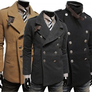 上衣 2014秋冬새로운男士外套 戶外休閒雙排扣風衣 韓味男式毛呢大衣