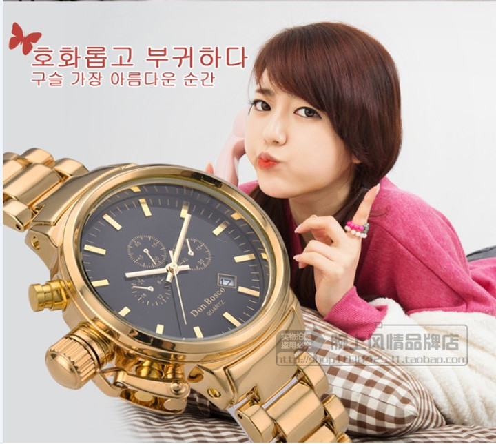 DON BOSCO經典款韓國 日曆鋼帶 三環裝飾 女錶 十天預購