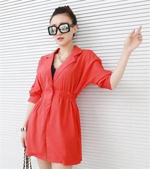 秋冬新款女裝 韓味蝙蝠袖 中長款 西裝外套收腰小外套(紅色)