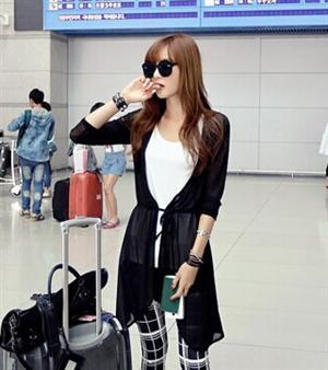 秋冬新款女裝 不對稱垂墜修身版型開襟腰綁帶시퐁 셔츠雪紡外套(單色黑色)