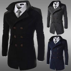 2014秋冬새로운 韓味個性修身立領保暖外套 男士中長款雙排扣呢大衣