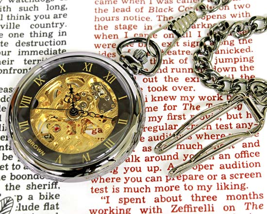 口袋機械懷錶/雙面骨架金懷錶-日本10天直購品