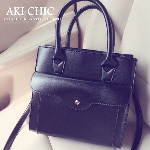 AKI CHIC【b101】韓款時尚簡約搭扣黑色手提側肩方包