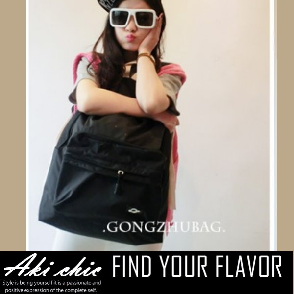 AKI CHIC【b233】韓版個性潮流簡約素面色螢光學院旅行休閒手提側肩後背包