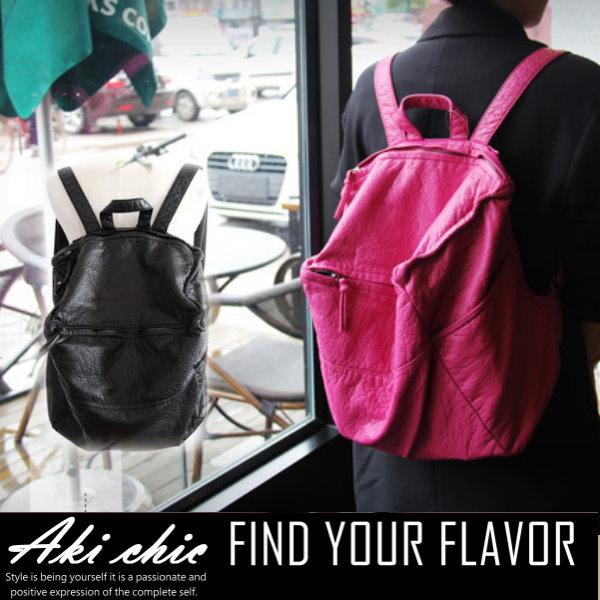 AKI CHIC【b307】韓國個性時尚軟牛皮水洗復古皮休閒旅行手提側肩後背包