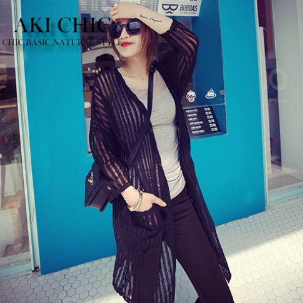 AKI CHIC【c001】韓款大牌風黑色條紋透視感口袋長袖罩衫針織外套