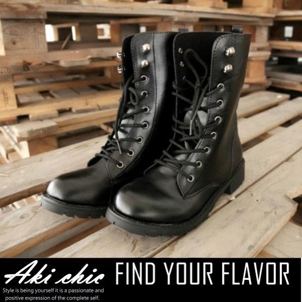 AKI CHIC【s033】韓版個性黑秋冬款英倫復古粗跟中筒綁帶馬丁軍靴