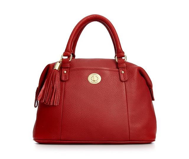 [美國精品櫥窗]Tommy Hilfiger Handbag, Pebble Leather Turnlock Tassel Bowler Bag BOWLER正品 真皮 女精品 波士頓包