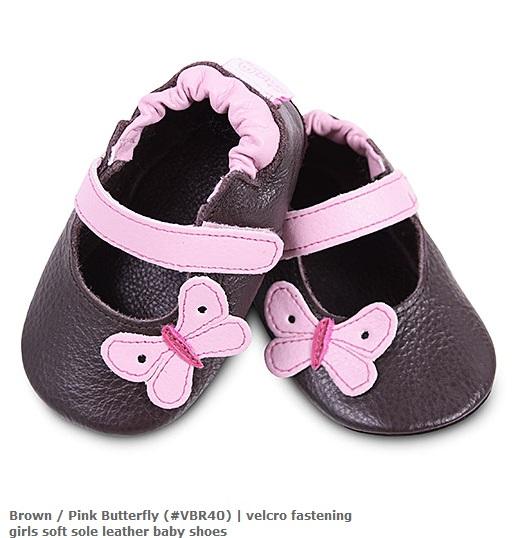 【HELLA 媽咪寶貝】英國 shooshoos 安全無毒真皮手工鞋/學步鞋/嬰兒鞋_棕色/粉蝴蝶(公司貨)