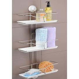 雙慶吸盤式三層組合浴室置物架/收納架/浴廚架/整理架/置物籃
