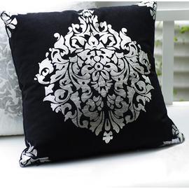 高檔燙銀棉麻柔軟靠墊抱枕套系列-黑色 (不含枕芯)(45x45cm)