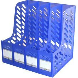 新款文具桌面收納檔架透明組合式四聯雜誌架辦公用品-5801001