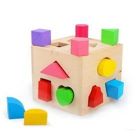 兒童益智玩具1-3歲 十三孔智力盒 形狀配對積木玩具 本色智力盒-7701005
