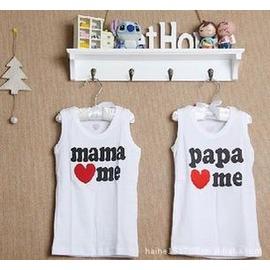 爸爸媽媽愛我嬰兒背心半歲0-1歲1-2歲一歲童裝bb衣服T恤女寶寶夏裝-7701007