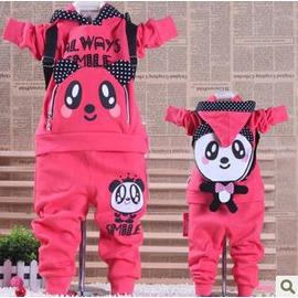 春秋新款熊貓背包韓版男童兒童運動套裝女童裝寶寶服裝-7701007