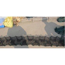 【折疊網-1.5米8節6門-框架18*22cm-2個/組】折疊魚網蝦籠蝦網 龍蝦籠 捕魚籠 捕蝦網 抓蟹籠 地籠 漁網漁具-5101015