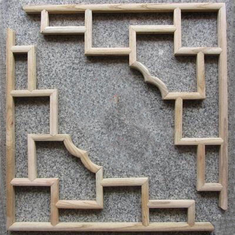 【仿古木條角花-椴木白坯-78-1對/組】中式裝修背景隔斷玄關 屏風掛件仿古傢俱-30105