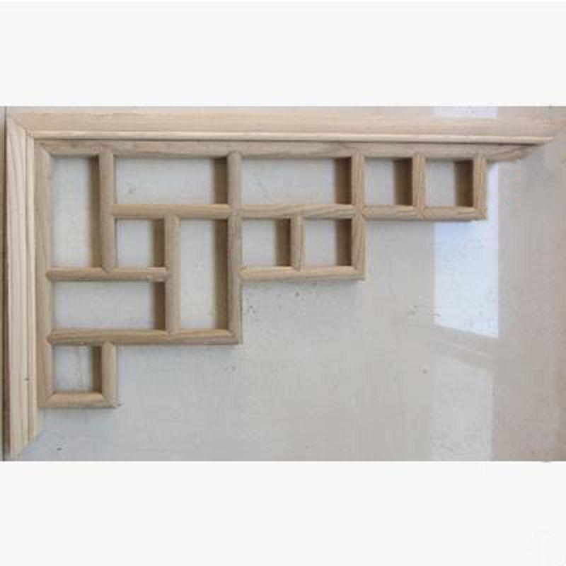 【仿古木條角花-椴木白坯-105-1對/組】中式裝修背景隔斷玄關 屏風掛件仿古傢俱-30105