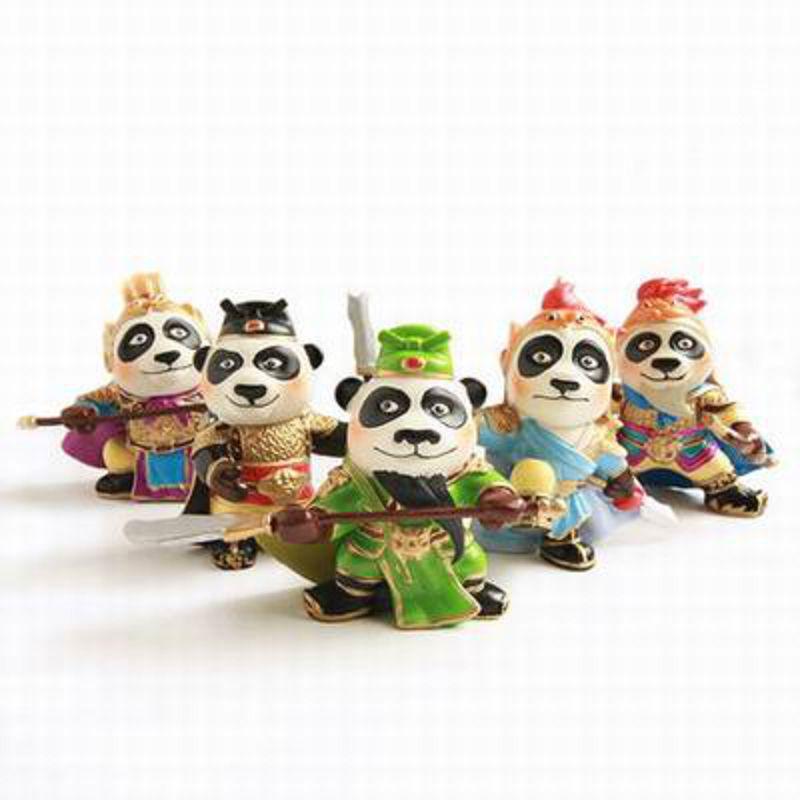 【熊貓三國-單個-7.6*5.9*3.6cm-1個/組】樹脂工藝品擺件家居房間辦公車載擺設飾品多款可選-35004