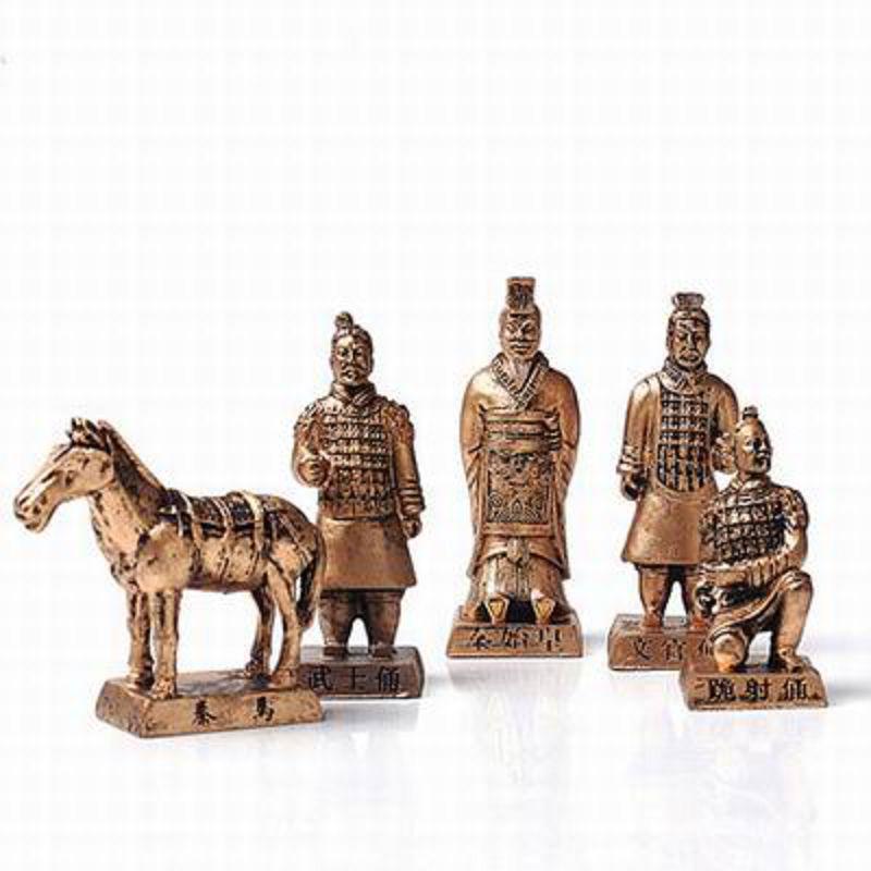 【兵馬俑擺件玩具-5件套-樹脂-高8.5cm-1套/組】特色工藝品紀念品餽贈親朋好友多款可選-36001
