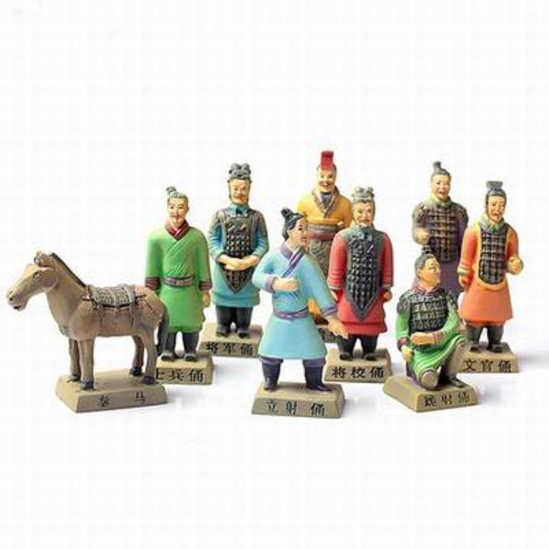 【兵馬俑擺件玩具-9件套-樹脂-高8.5cm-1套/組】特色工藝品紀念品餽贈親朋好友多款可選-36001