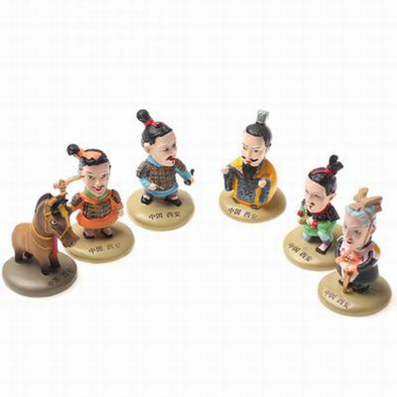 【卡通兵馬俑公仔6件套-樹脂-高8cm-1套/組】特色禮品工藝品紀念品餽贈親朋好友-36001