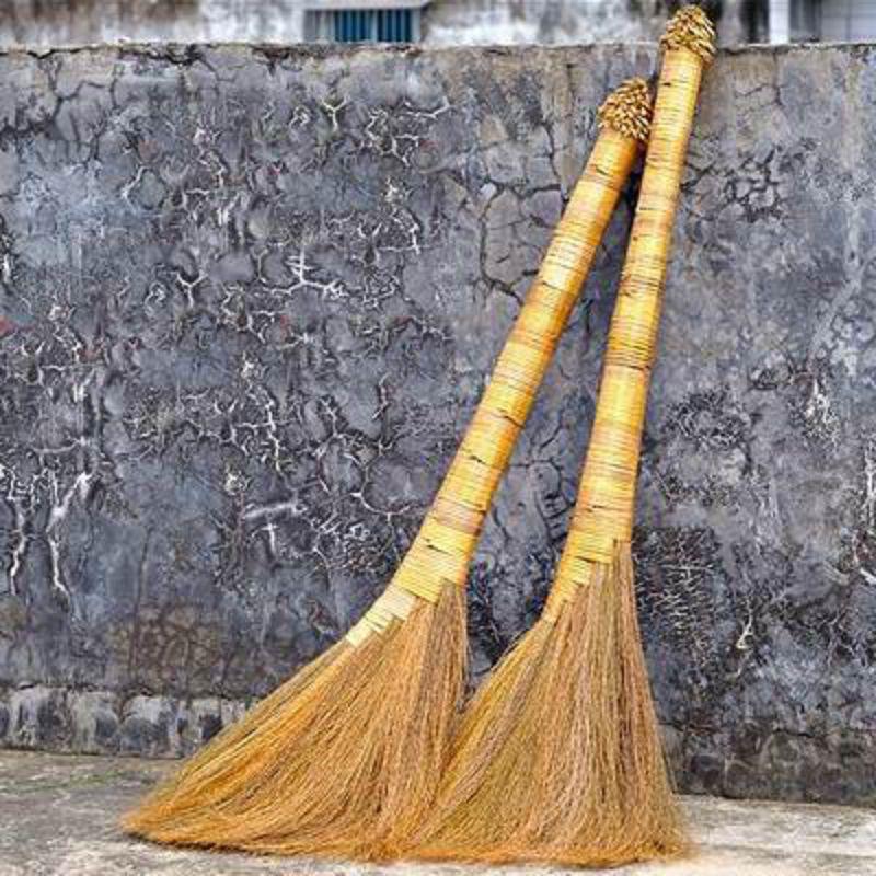 【金絲芒草掃把-九層寶頂款-6*40*95cm-2把/套-1套/組】手工編去毛髮木地板專用植物鬃毛掃把 除塵軟毛笤帚長手柄-38009