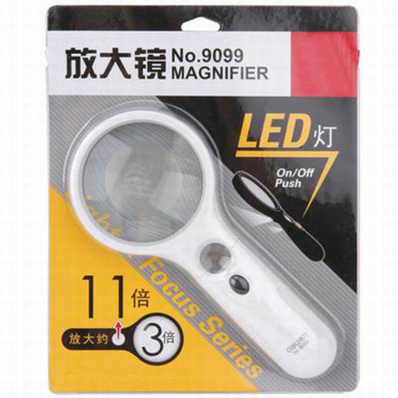 【LED燈閱讀放大鏡-9099-小鏡2.2-大鏡7.5cm-1支/組】小鏡頭11倍大鏡頭3倍高清閱讀(不含電池)-586003