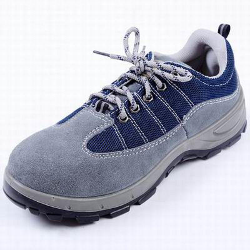 【工作安全鞋-藍色PU底-1雙/組】勞保鞋鋼包頭透氣防護鞋實心牛皮防砸耐磨防刺穿-586035