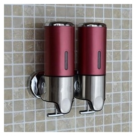 【皂液器-500毫升x2-1套/組】新款酒店壁掛式不鏽鋼手動大容量塑料洗髮露沐浴瓶-7721002