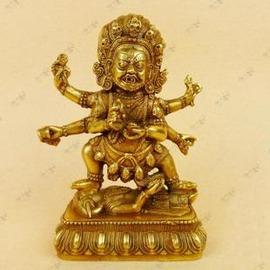 【佛像-銅-大黑天財神】佛教用品 藏傳佛教 藏佛 藏傳密宗銅佛像大黑天財神-7501002