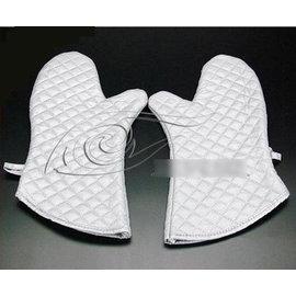【隔熱手套-優質棉-銀色-中號】高級銀色微波爐手套 優質棉隔熱手套 高溫烘焙手套工具(中號:28*18cm)2只/包-8001001