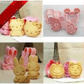 【餅乾模-塑膠-立體-8模/4款】立體餅乾模具 可愛卡通造型 烘焙工具 創意飯團模具(kitty 叮噹貓 米奇 兔子約5~6cm)-8001001