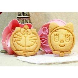 【餅乾模-塑膠-立體-2件套-哆啦A夢叮噹貓】立體餅乾模具 哆啦A夢叮噹貓造型 烘焙工具 創意飯團模具(5*2.2cm)-8001001
