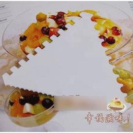 【刮刀-塑膠-三角形帶齒-5支/組】奶油巧克力刮板刮刀 有3種花紋 做麵包蛋糕烘焙工具(邊長11cm) 5支/組-8001002