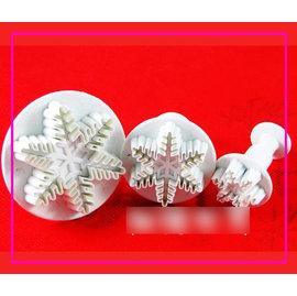 【翻糖模-塑膠-3件雪花】翻糖彈簧壓模 聖誕餅乾模 翻糖蛋糕工具 糖花(一套三件: 2.5、4、5.5cm)-8001006