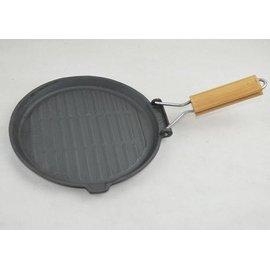 【煎盤-鑄鐵-黑色圓形-平底-摺疊把手-20】鑄鐵煎盤煎蛋盤 平底鍋 牛排煎鍋 披薩烤盤 無塗層(直徑22.5底部直徑20高1.8cm左右)-8001018