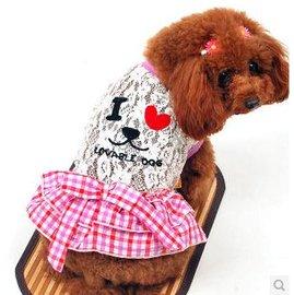 【寵物服裝-我愛紐約笑臉-春夏秋-2規格可選】寵物狗狗貓咪衣服 蕾絲邊裙子,規格:2/5(請對照尺碼說明)-79011