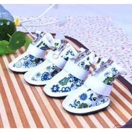 【寵物運動鞋-青花瓷中國風-橡膠底-5規格可選-4只/包】寵物狗狗貓咪鞋  規格:1號~5號(請對照尺碼說明)-79011