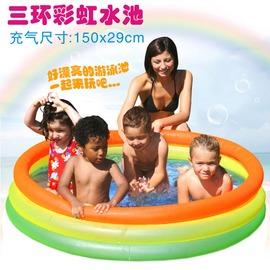 【兒童圓形三環充氣水池-彩虹-300L-外徑150(內徑130)*29cm-1套/組】兒童水池 游泳池 海洋世界圓形三環水池 充氣水池-76033