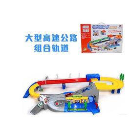 【電動高速公路組合軌道-成品範圍長130*寬50cm-1套/組】兒童電動軌道車玩具大型高速公路拼裝飆車軌道玩具男孩禮物(不含電池)-56017