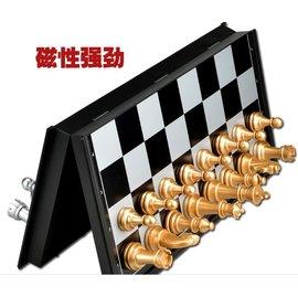 【磁性折疊國際象棋-UB-3810A-中號-棋盤25*25*2cm-1套/組】超大中號磁性金銀色國際象棋配西洋跳棋折疊式盤-56021