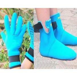 【兒童潛水襪套套裝-(手套*1雙+襪套*1雙)/套-1套/組】3mm濕式加厚潛水服材料 掌心腳底防滑點 帶魔術貼 加厚防滑保暖-76004
