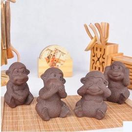 【茶寵-四不做猴-紫砂-6*6*9cm-4個/套-1套/組】宜興紫砂茶寵擺件精品茶具茶道零配件  陶瓷龐物茶玩,多款可選可混搭-7501019