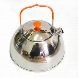 【不鏽鋼燒水壺-BRS-TS06-0.6L-不鏽鋼-直徑12.8*高8.8cm-1套/組】戶外露營便攜式食品級不鏽鋼燒水壺野營咖啡茶壺-76007